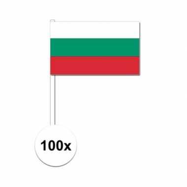 100x bulgarije decoratie papieren zwaaivlaggetjes