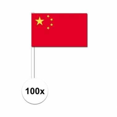 100x china decoratie papieren zwaaivlaggetjes