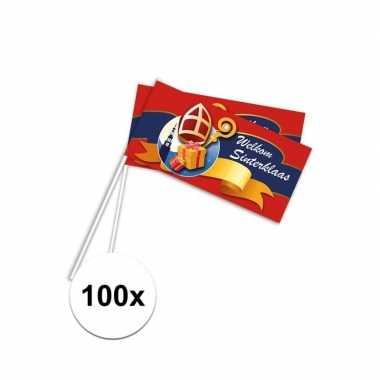 100x feest zwaaivlaggen welkom sinterklaas