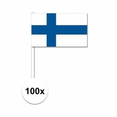 100x finland decoratie papieren zwaaivlaggetjes