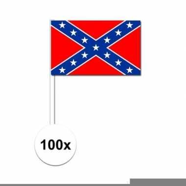 100x geconfedereerde staten van amerika decoratie papieren zwaaivlagg