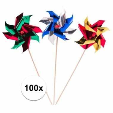 100x gekleurde windmolen prikkers 19 cm