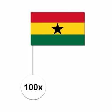 100x ghana decoratie papieren zwaaivlaggetjes