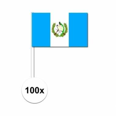 100x guatemala decoratie papieren zwaaivlaggetjes