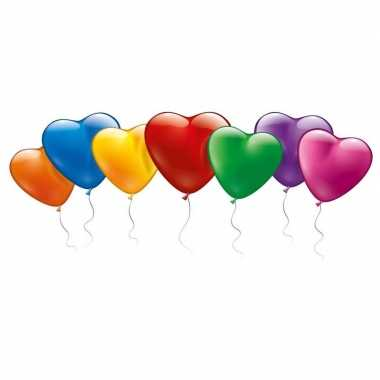 100x hartvormige ballonnen in mooie kleuren