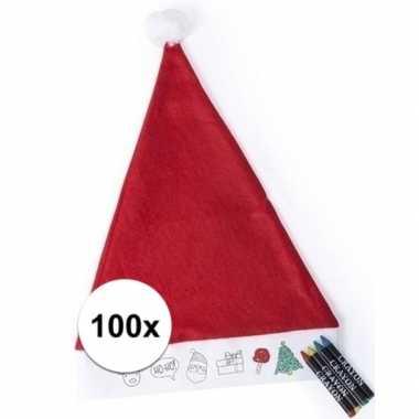 100x hobby kerstmutsen inkleurbaar met waskrijtjes voor jongens/meisj