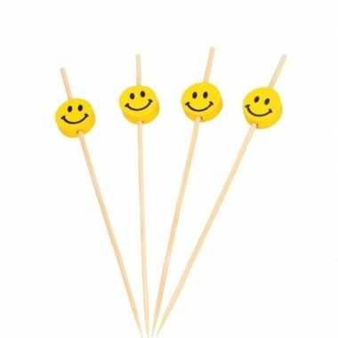100x houten feestprikkers/partyprikkers smiley 12 cm
