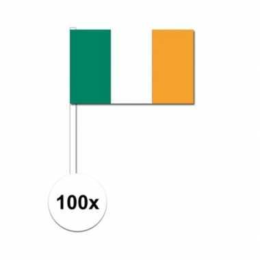 100x ierland decoratie papieren zwaaivlaggetjes