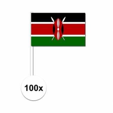 100x kenia decoratie papieren zwaaivlaggetjes