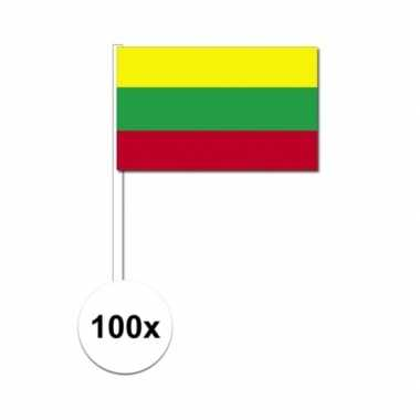 100x litouwen decoratie papieren zwaaivlaggetjes