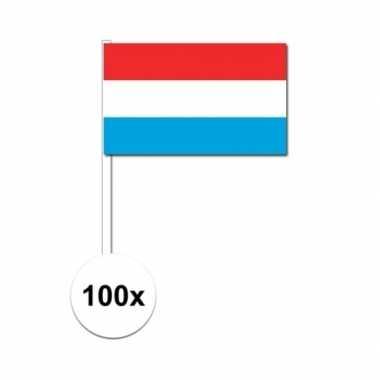 100x luxemburg decoratie papieren zwaaivlaggetjes