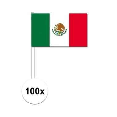100x mexico decoratie papieren zwaaivlaggetjes