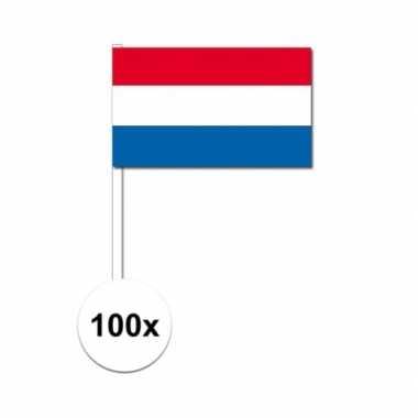100x nederland decoratie papieren zwaaivlaggetjes
