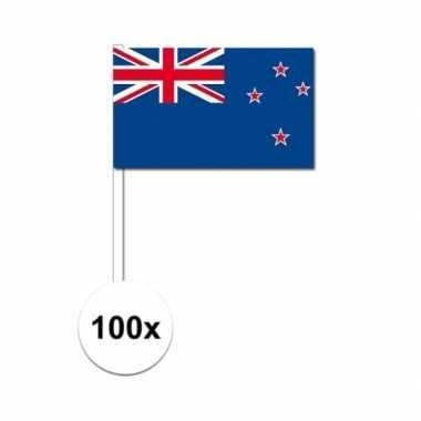 100x nieuw zeeland decoratie papieren zwaaivlaggetjes