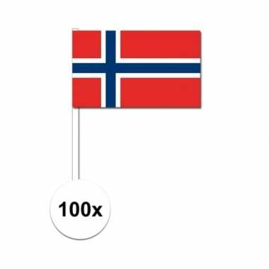 100x noorwegen decoratie papieren zwaaivlaggetjes