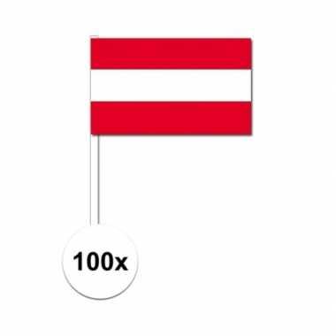 100x oostenrijk decoratie papieren zwaaivlaggetjes