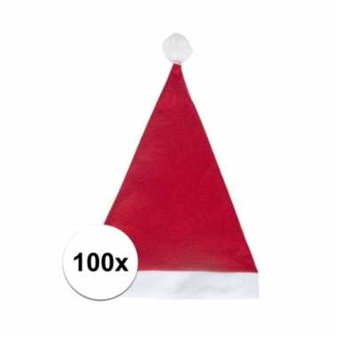 100x rode budget kerstmuts voor volwassenen