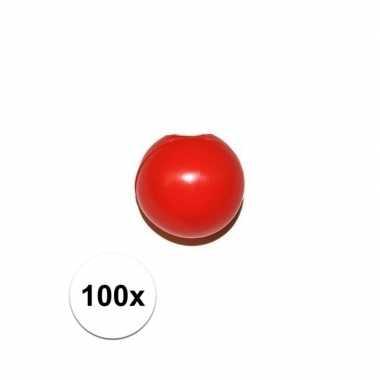100x rode clowns neus/neuzen zonder elastiek