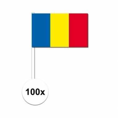 100x roemenie decoratie papieren zwaaivlaggetjes