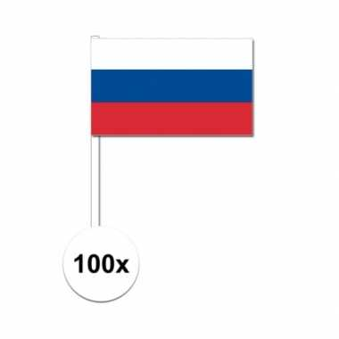 100x rusland decoratie papieren zwaaivlaggetjes