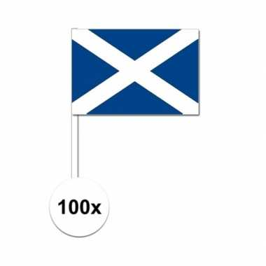 100x schotland decoratie papieren zwaaivlaggetjes
