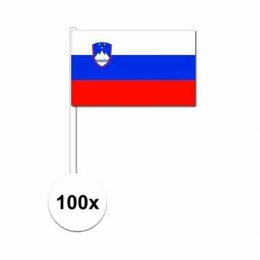 100x slovenie decoratie papieren zwaaivlaggetjes