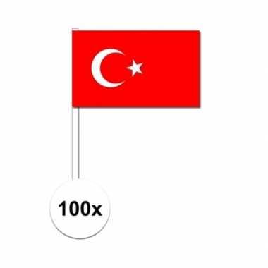 100x turkije decoratie papieren zwaaivlaggetjes