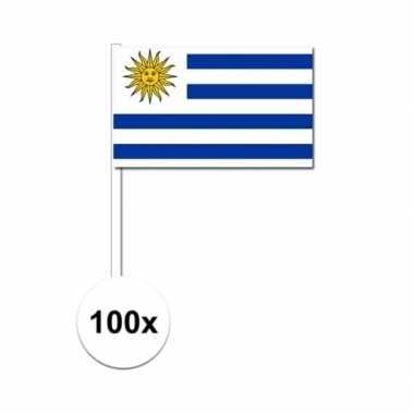 100x uruguay decoratie papieren zwaaivlaggetjes