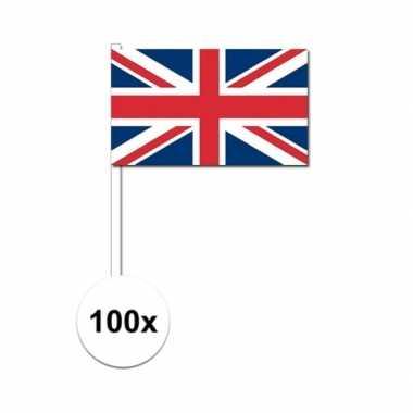 100x verenigd koninkrijk decoratie papieren zwaaivlaggetjes