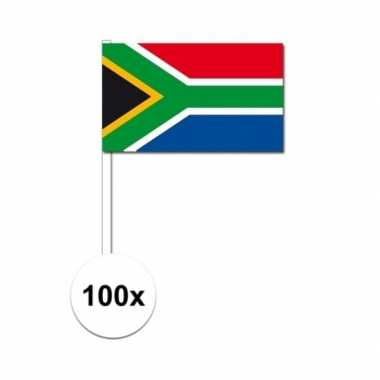 100x zuid afrika decoratie papieren zwaaivlaggetjes