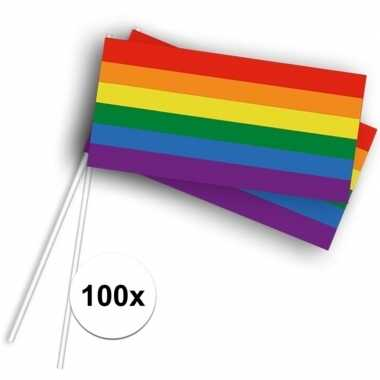 100x zwaaivlaggetjes met regenboog 100 stuks