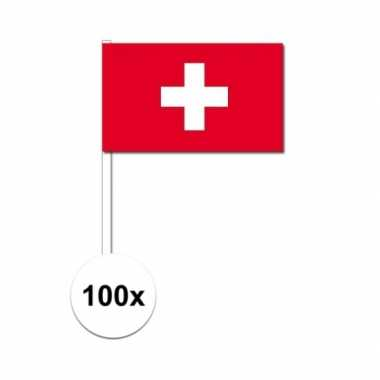 100x zweden decoratie papieren zwaaivlaggetjes