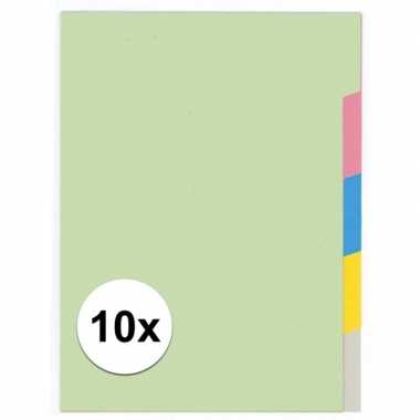 10x a4 kartonnen tabbladen met 5 tabs