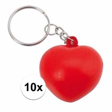 10x anti-stress hartjes sleutelhanger