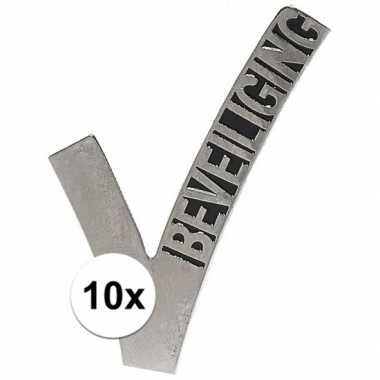 10x beveiliging embleem pinspeld 6,5 cm