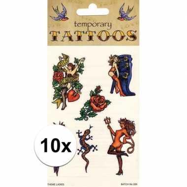 10x biker tattoo set van 6 stuks