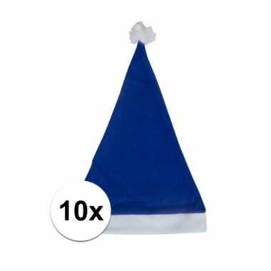 10x blauwe budget kerstmuts voor volwassenen