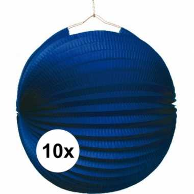 10x blauwe lampionnen 22 cm