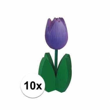 10x bloemen decoratie tulp paars