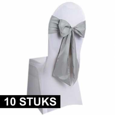10x bruiloft stoelversiering strik zilver