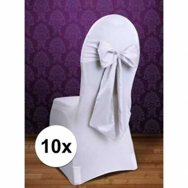 10x bruiloft stoelversiering strikken wit
