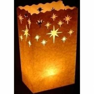 10x candle bags set kristalster 26 cm