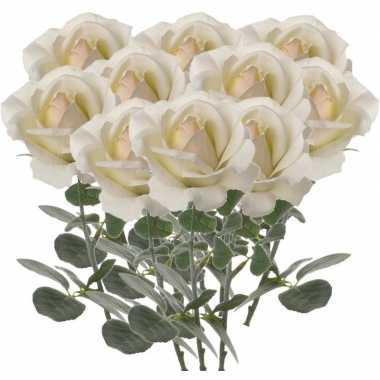 10x creme witte kunstroos kunstbloemen 37 cm decoratie