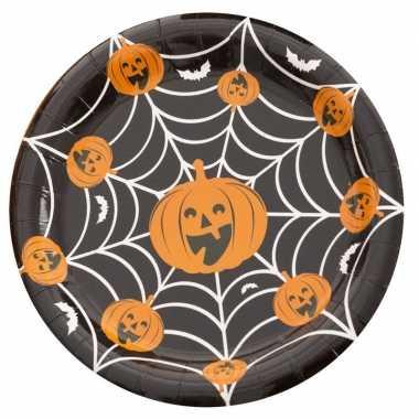 10x feestbordjes pompoen/spinnenweb