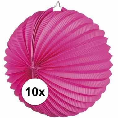 10x fuchsia roze feest lampionnen 22 cm