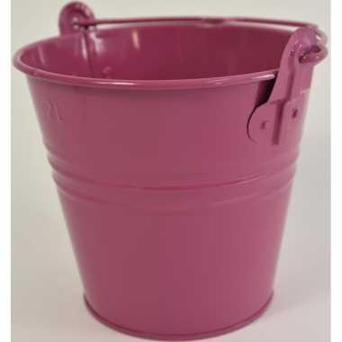 10x fuchsia roze klein emmertje van metaal met handvat 16 x 14 cm voo