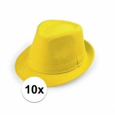 10x geel hoedje trilby model voor volwassenen