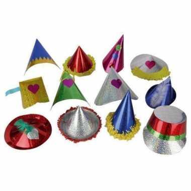 10x gekleurde feest glitterhoedjes van papier