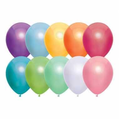 10x gekleurde metallic heliumballonnen 30 cm