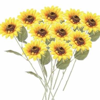 10x gele kunst zonnebloem kunstbloemen 62 cm decoratie